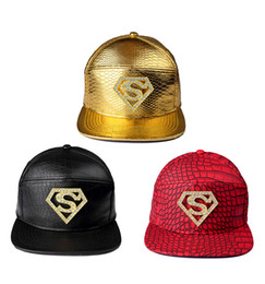 Vogue Golden PU Leather Crocodile Ghost VIP Baseball Caps Diamond  Rhinestone Superman Batman Strapback Hats Men Women Hip Hop Hats a755c3280002