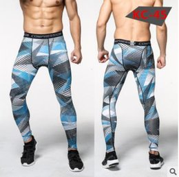Wholesale Slimmest Dark Red Pants - Profession men's compression pants Camouflage fitness stretch quick-drying joggers trousers exercise tight pants skin leggings 16