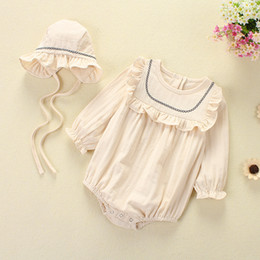 Wholesale America Long - romper 2018 INS Europe and America new arrival Girl spring long sleeve solid color girls high quality cotton cute romper+hats