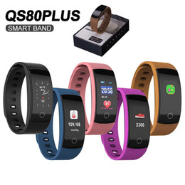 2019 bluetooth armbänder armbänder QS80 Plus Smart Armband Fitness Tracker Pulsuhr Wasserdicht für IOS Android Schrittzähler Call Erinnern Armband mit Kleinkasten