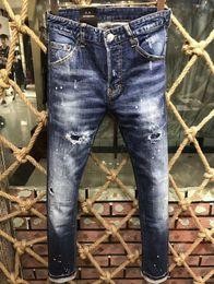 Wholesale modern rocks - 2018 New Pants Casual Tie Dye Decoration Denim Biker Blue Jeans True For Men Hip Hop Summer Fashion Male Quality Clothing Rock Revival 9150