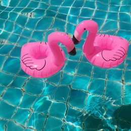 розовый держатель чашки Скидка 5X Air Mattresses for Cup Inflatable Flamingo Drinks Cup Holder Pool Floats Bar Coasters Floatation Devices Pink