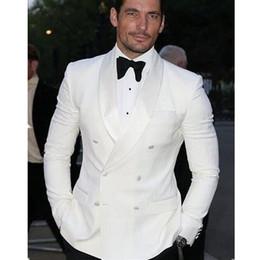 Wholesale Grey Bespoke Tuxedo - 2017 Summer Style Custom Double Breasted Ivory White Man Suit Groom Tuxedo Bespoke Wedding Suits Black Pants(Jacket+Pants+Bow)