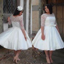 Wholesale white simple informal wedding dresses - 2018 Ivory Lace Satin Half Sleeves Plus Size Vintage Tea Length Wedding Dresses Boat Neck 50s Informal Bridal Dress Wedding Gowns Plus Size
