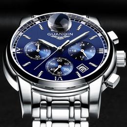 Wholesale Guanqin Watches - GUANQIN Mens Watches Top Brand Luxury Fashion Business Quartz Watch Men Sport Full Steel Waterproof Wristwatch