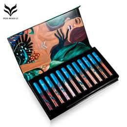 Texturas de labios online-HUAMIANLI Set de 12 lotes / lote de maquillaje Brillo labial Humedad Durable Set de lápiz labial líquido mate Textura Beauty Lip Gloss
