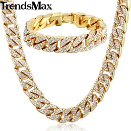 Trendsmax Hiphop Miami Curb Cuban Womens Mens Necklace Bracelet Jewelry Set Bling Iced Out Gold Silver Color 14mm GS259 от