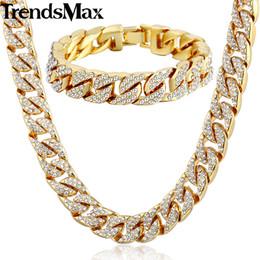 Deutschland Trendsmax Hiphop Miami Curb Kubanische Damen Herren Halskette Armband Schmuck Set Bling Iced Out Gold Silber Farbe 14mm GS259 supplier bracelets 14mm Versorgung