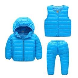 Die neue Herbst und Winter Kinder Daunenjacke dreiteilige leichte warme Kapuze Jungen und Mädchen Bettdecke Anzug von Fabrikanten