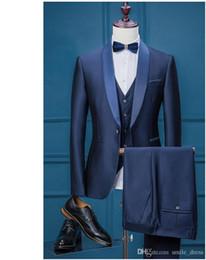 Wholesale Royal Blue Wedding Veils - Groom Wear Tuxedo Men Wedding Suits Slim Fit Royal Blue Groom Suits For Wedding Formal Suits 3 Pieces (Jacket+Veil+Pants)