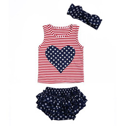 Wholesale girls ruffled red bloomers - 4th of july 2018 baby girl clothes girls boutique outfits kids headband independence day vest ruffle bloomers shorts fourth of july clothing