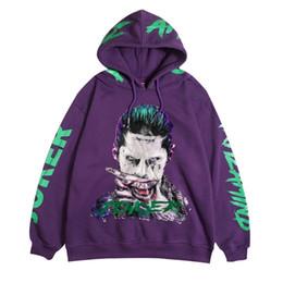 c97ba5fdac71b joker hoodie 2019 - Hip Hop Joker Printed Fleece Hoodies Sweatshirts Men  Casual Pullover Hooded Streetwear