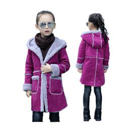 Wholesale Child Plush Coat - cute girl thick overcoat elegant warm solid plush hooded coat for 3-12yrs girls children jacket faux deer skin outerwear coat