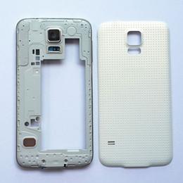 Samsung galaxy s5 pièces en Ligne-Cadre de plaque centrale d'origine + Couvercle du logement de la batterie pour Samsung Galaxy S5 G900F G900H G900 i9600, pièces de rechange