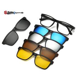 aa9e1652ea 5 lenes Imán Gafas de sol Clip Clip espejado en Gafas de sol en gafas  Hombres Clips polarizados Prescripción personalizada Miopía