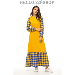 9ab9b332aaa Femmes Caftan Maxi Dress À Carreaux Slim Fit Abaya Musulmans Style Robe De  Robe Robes Long Pull Full Length Yellow