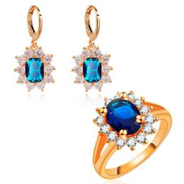 Yunkingdom Moda Flor Conjuntos de Jóias para As Mulheres Senhoras Conjuntos de Anéis de Cor de Rosa de Ouro Elegante Azul Da Jóia Por Atacado de