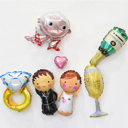 Wholesale Mini Hearing - mini Love ring Champagne cupid Foil Balloon Groom And Bridge globos Romantic Hear Wedding Anniversary Party Valentines.