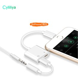 Wholesale Iphone Chargers Earphones - 2 in 1 Dual For Lightnin to Headphone Audio Charger Adapter Connectors Cable For iPhone 7 8 X Plus For iOS 10.3 11 Charging Music
