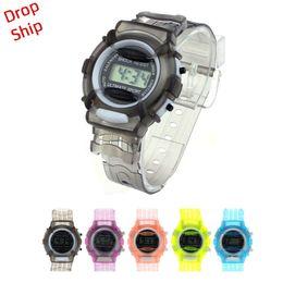 Wholesale child digital watch waterproof - Fashion Boys Girls Children Students Waterproof Digital Wrist Sport Watch DROP SHIPPING f5m30HY