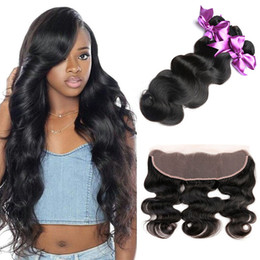 weave bundles three part closure Promo Codes - Brazilain 13X4 Ear To Ear Lace Frontal Closure With Bundles Brazilain Body Wave Virgin Human Hair Weave Extensions With Lace Frontal