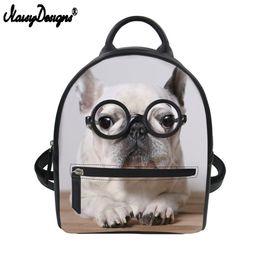 Mochilas de perro lindo online-Noisydesigns Mini Mochila Bulldog Francés Perro Lindo Impresión PU Bolso de Hombro de Cuero Para Niñas Adolescentes Pequeña Mochila Escolar