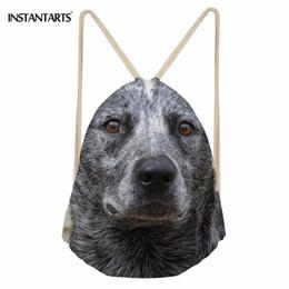 Mochilas de perro lindo online-INSTANTARTS Cute Pet Dog Pattern Drawstring Bag Cattle Dog Drawstring Backpack Mujeres Hombres Playa Pequeña Bolsa de Hombro Satchel