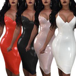knielänge jeanshemd kleid Rabatt Frauen PU Sexy Kleid Herbst Ärmelloses, figurbetontes Kleid Frauen Vintage Vestidos Spaghetti Strap Elegante Dame Party Kleider