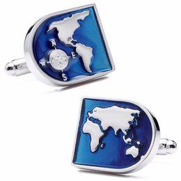 Materiales de puesta a tierra online-Mapa del mundo Gemelos Gemelos Patrón de la Tierra Azul Calidad Material de latón Mejor regalo para hombres