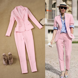 Blazer femminili bianchi online-LXUNYI Pink 2 pezzi Pant Suit Women Formal White Suit Femminile Office Slim Ladies Intervista Abiti One Button Pants e Blazer Set