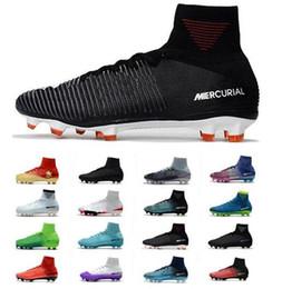 x zapatos de futbol Rebajas 2018 Nuevo Mercurial Superfly V FG Fire Rojo Negro Hombre Botas de fútbol Zapatos Mercurial Superfly V X Fire Hombre FG Zapatos de fútbol Zapatos de fútbol