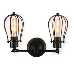 Illuminazione gabbia in stile industriale online-Lampade a sospensione industriali a sospensione a sospensione industriale in acciaio retrò stile country americano ferro retrò E27