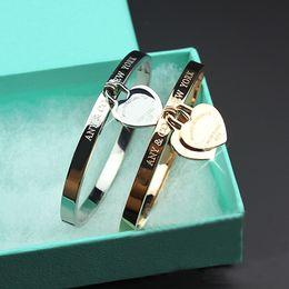 Ouro requintado on-line-316LTitanium aço rose pulseiras de ouro wholesalegold love braceletbangle para mulher jóias requintado duplo coração pulseira presente das mulheres