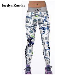 il ballo bianco di yoga ansima Sconti Jocelyn Katrina Yoga Pantaloni Stampa Running Yoga Leggings Nero Bianco Danza Skinny Collant Vita alta Pantaloni sportivi