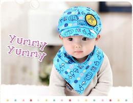 2019 foulards de boutique Chapeau de soleil d'été pour enfants coréens du chapeau de soleil de boutique coréenne + écharpe imprimée deux ensembles de casquette de baseball pour bébé H014 foulards de boutique pas cher