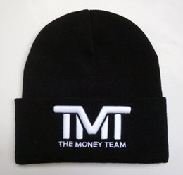 Wholesale Military Character Letter - Hot The Money Team Beanie Hat Knitted Fashion Baseball Winter Beanies Cap Knitting Men Women Hot TMT Embroidery Knit Hats Sports Skull Caps