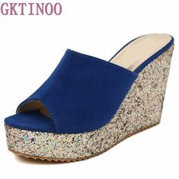 Wholesale ladies suede platform wedge shoes - 2017 Fashion Sequins High Heel Slippers Women Summer Shoes Suede Platform Sandals Ladies Wedges Sandals Flip Flops