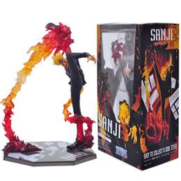 Wholesale Sanji Action Figure - Anime One Piece Black Leg Sanji Fire Battle Version Boxed PVC Action Figure Collectible Model Toys 17cm Doll Free Shipping