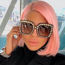 Wholesale Pink Rhinestone Sunglasses - Fashion Square sunglasses new trend Women Square Sunglasses Brand Designer Luxury rhinestone Sun Glasses High Quality Shades