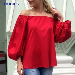 Wholesale Puff Sleeved Blouse - Spring New Fashion Sexy Off Shoulder Womens Tops and Blouses Puff Sleeved Blusa Feminina Casual Chemise Femme Solid Shirts Women