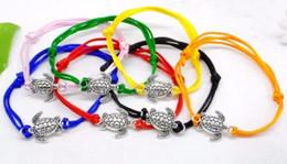 Pulsera de cadena roja diy online-50 unids / lote cadena de tortugas de mar Lucky Red Cord ajustable pulseras NUEVO regalo DIY