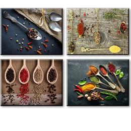 caça pintura a óleo Desconto Cópias da lona para a decoração da parede da cozinha, 4 Piece Set Spice e Spoon Vintage Canvas Wall Art Imagem, pronto para pendurar