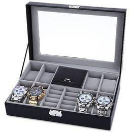 Wholesale-8 Grids + 3 Mixed Grids Watch Case  Jewelry Decoration Storage Display relogios Box PVC Watch Box Case Leather Gift Boxes cheap gift box grid от Поставщики сетка подарочной коробки