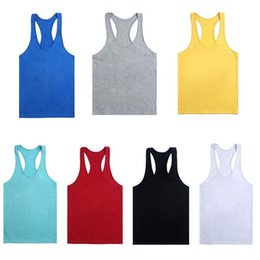Wholesale vest tops for men - 2018 New Fitness Men Blank Stringer Cotton Tank Top Singlet Bodybuilding Sport Undershirt Clothes Gym Vest Muscle Singlet for hot Selling
