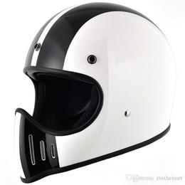 Wholesale Vintage Fiberglass - Fiberglass full face motorcycle cross Vintage shield visor helmet street customsafe protective cafe racer drop shipping