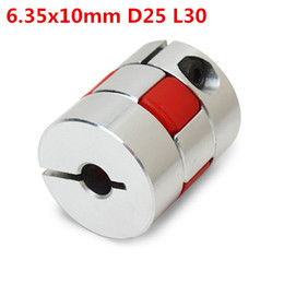 Wholesale Flexible Motor Couplings - 6.35x10mm Aluminum Flexible Spider Shaft Coupling CNC Stepper Motor Coupler Connector OD25mm x L30mm