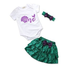 Wholesale Toddler Skirt Suit - 2018 Mermaid Girls Baby Rompers Clothing Sets White Toddler Romper Skirts Headbands 3Pcs Set Summer Infant Skirt Suits Boutique Clothes