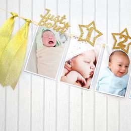 conjuntos de decoración de la ducha del bebé Rebajas Venta al por mayor 1 Set Star enero-diciembre Photo Record Photo Banner Clip Bandera Baby Birthday Party Shower Decoration