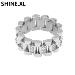 uhren für frauen goldkette Rabatt Hip Hop Edelstahlring Gold Versilbert Iced Out Uhrenkette Micro Pave Zirkon Ring für Männer Frauen