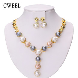 whole saleCWEEL Jewelry Sets Wedding African  Jewelry Set Imitation Pearl Bridal Dubai  Fashion Christmas Jewellery For Women от Поставщики ювелирные наборы из индийской жемчужины